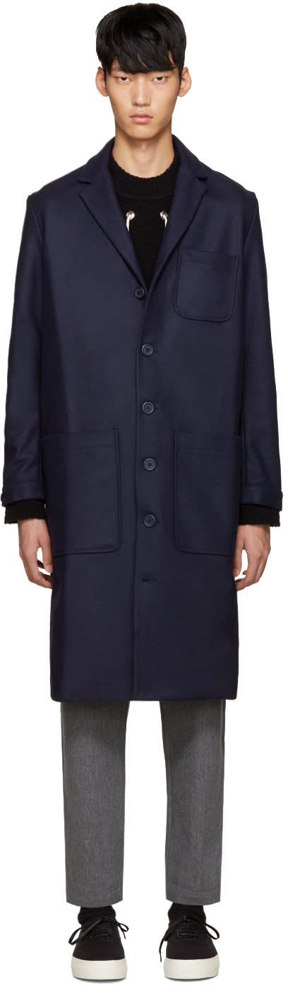 Sunnei Navy Wool Classic Coat