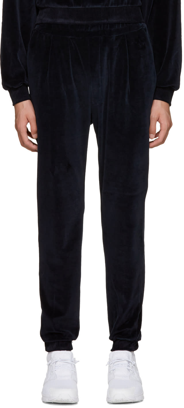 Sunnei Navy Velour Lounge Pants