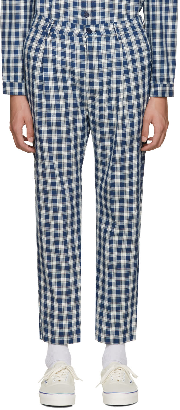 Sunnei Blue Check Classic Trousers