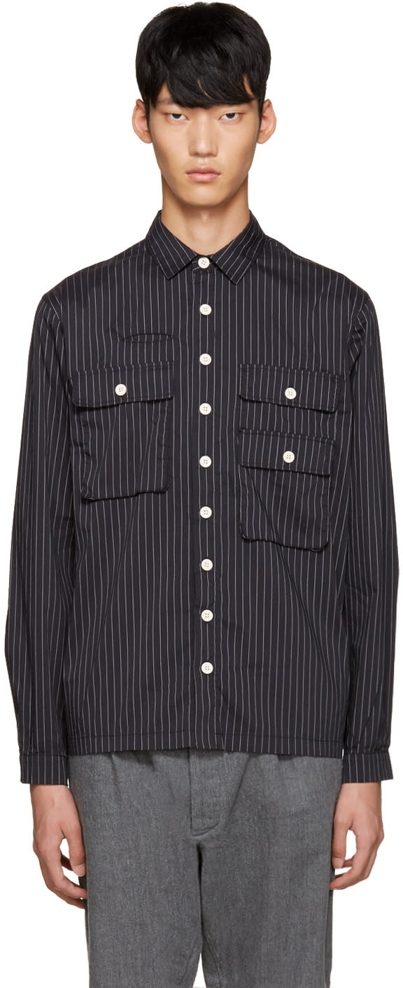 Sunnei Black Pinstriped Pocket Shirt