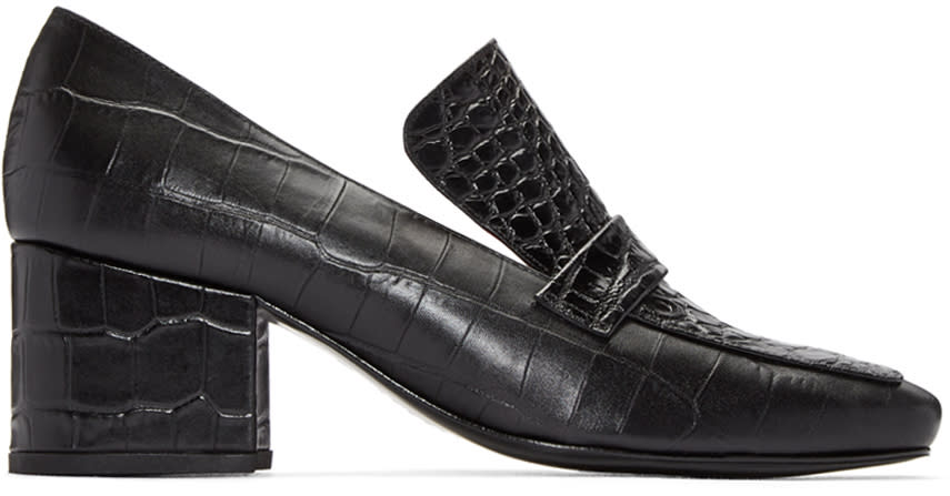 Dorateymur Black Python-embossed Turbojet Heels