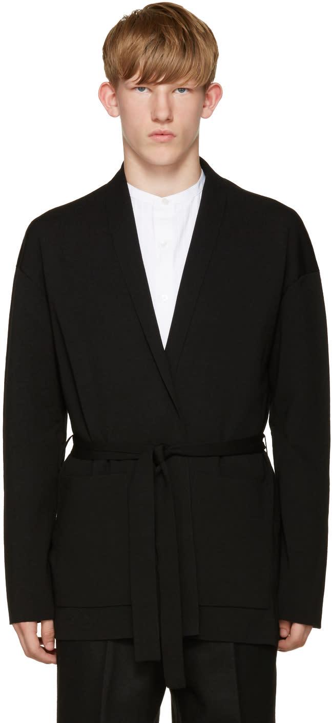 Tomorrowland Black Wool Kimono Cardigan
