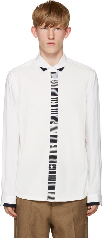Tomorrowland White Knit Panel Shirt