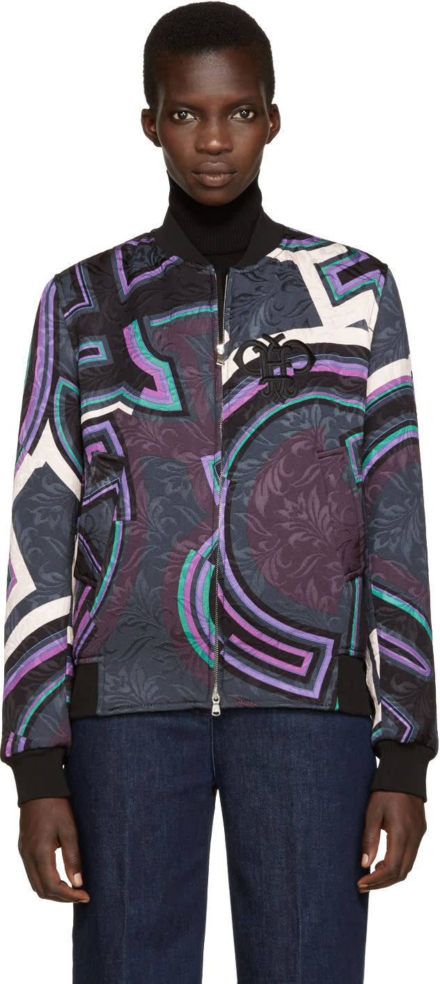 Image of Emilio Pucci Multicolor Patterned Bomber Jacket
