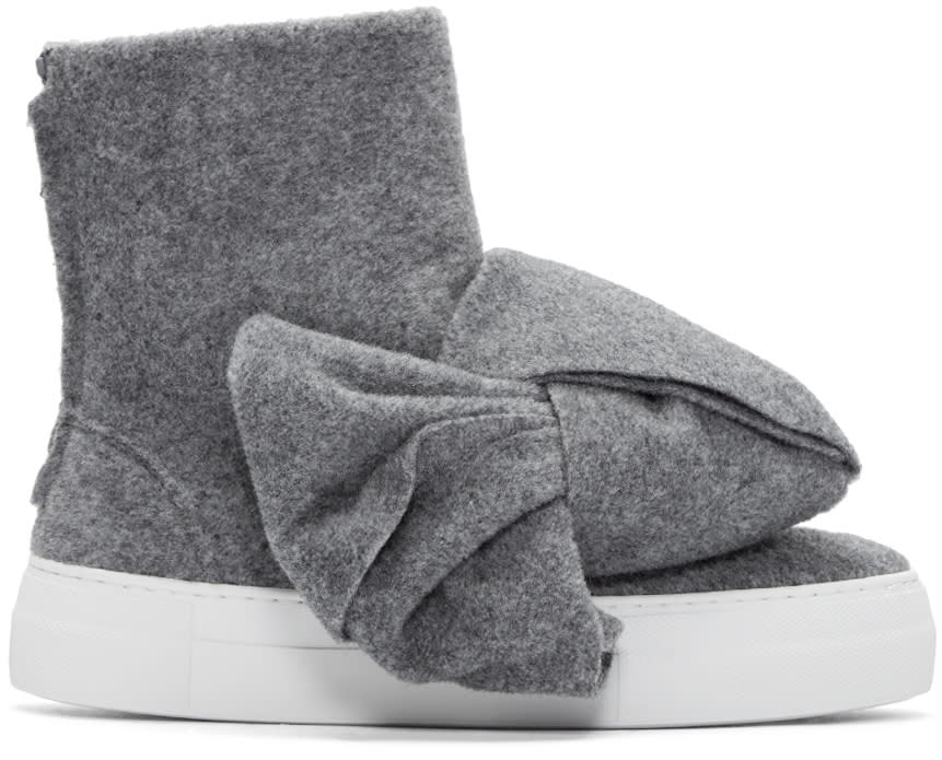 Joshua Sanders Grey Felt Bow High-top Sneakers