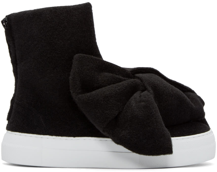 Joshua Sanders Black Felt Bow High-top Sneakers