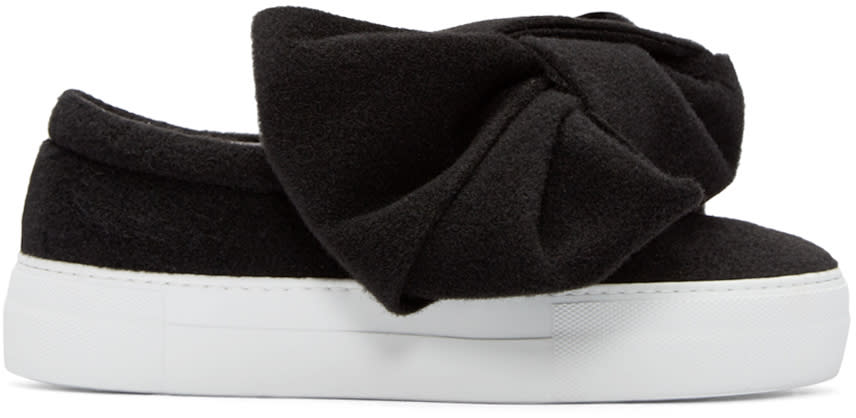 Joshua Sanders Black Felt Bow Slip-on Sneakers
