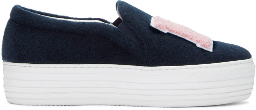 Joshua Sanders Blue Felt Ny Slip-on Sneakers