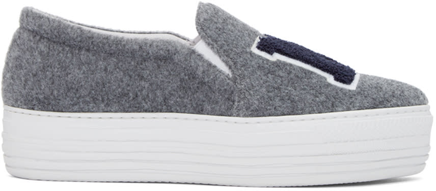 Joshua Sanders Grey Felt Ny Slip-on Sneakers