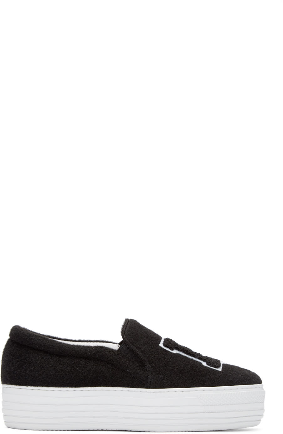 Joshua Sanders Black Felt Ny Slip-on Sneakers