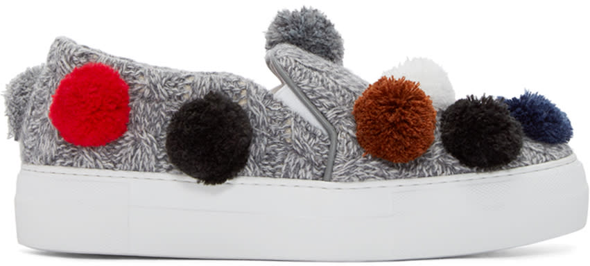 Joshua Sanders Grey Knit Pom Pom Slip-on Sneakers