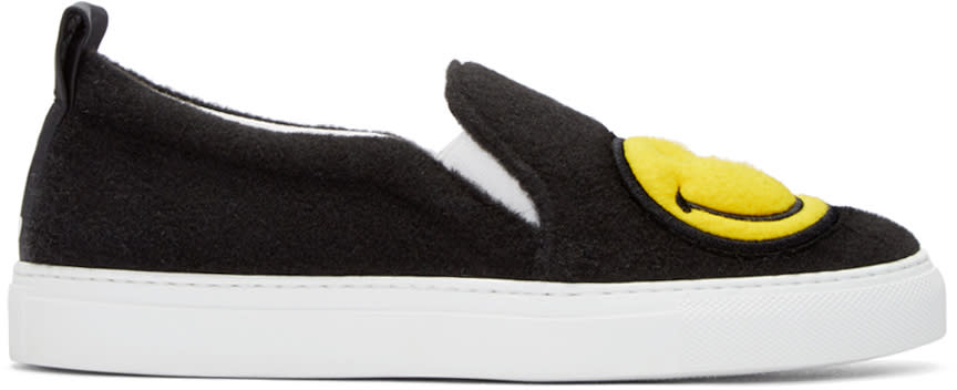 Joshua Sanders Black Felt Smiley Slip-on Sneakers