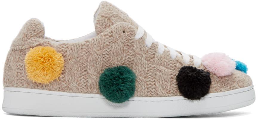 Image of Joshua Sanders Beige Knit Pom Pom Sneakers