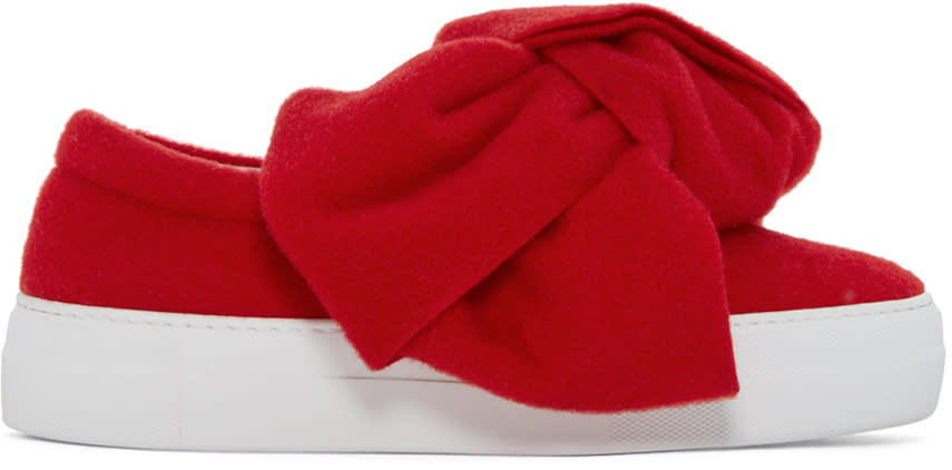 Joshua Sanders Red Felt Bow Slip-on Sneakers