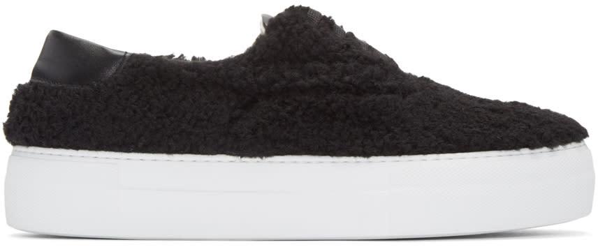 Joshua Sanders Black Shearling Sneakers