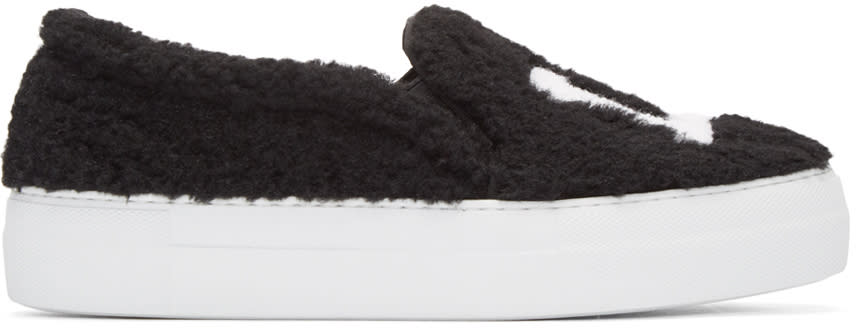 Joshua Sanders Black Shearling la Slip-on Sneakers