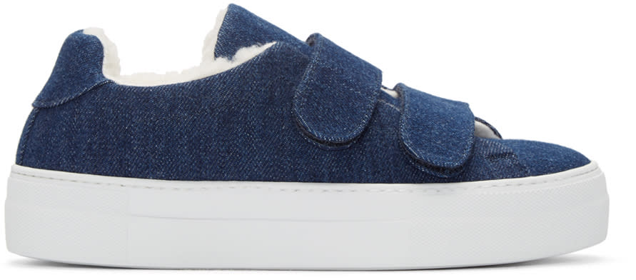Joshua Sanders Navy Denim and Shearling Sneakers