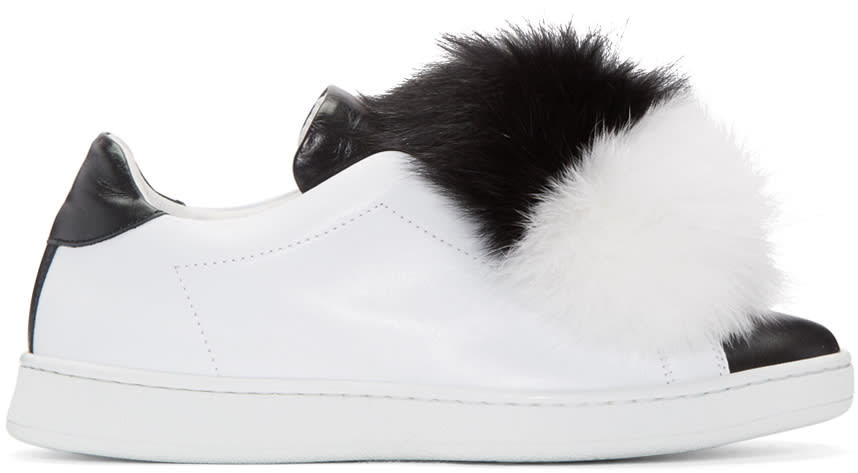 Joshua Sanders Black and White Fur Pom Pom Sneakers