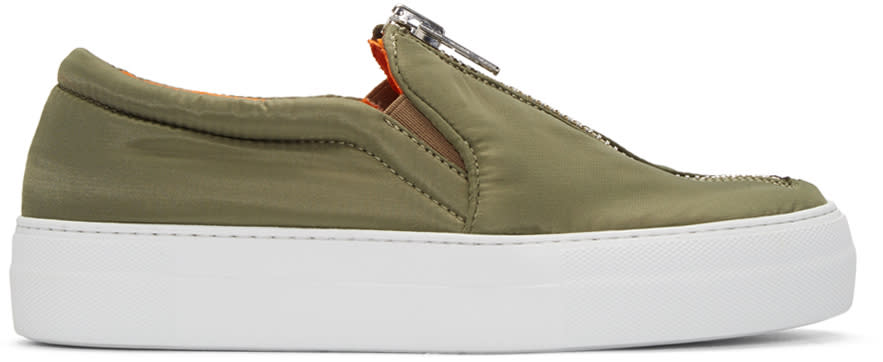 Joshua Sanders Green Bomber Slip-on Sneakers