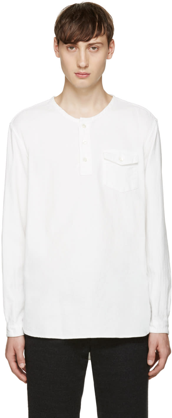 Blue Blue Japan White Collarless Shirt