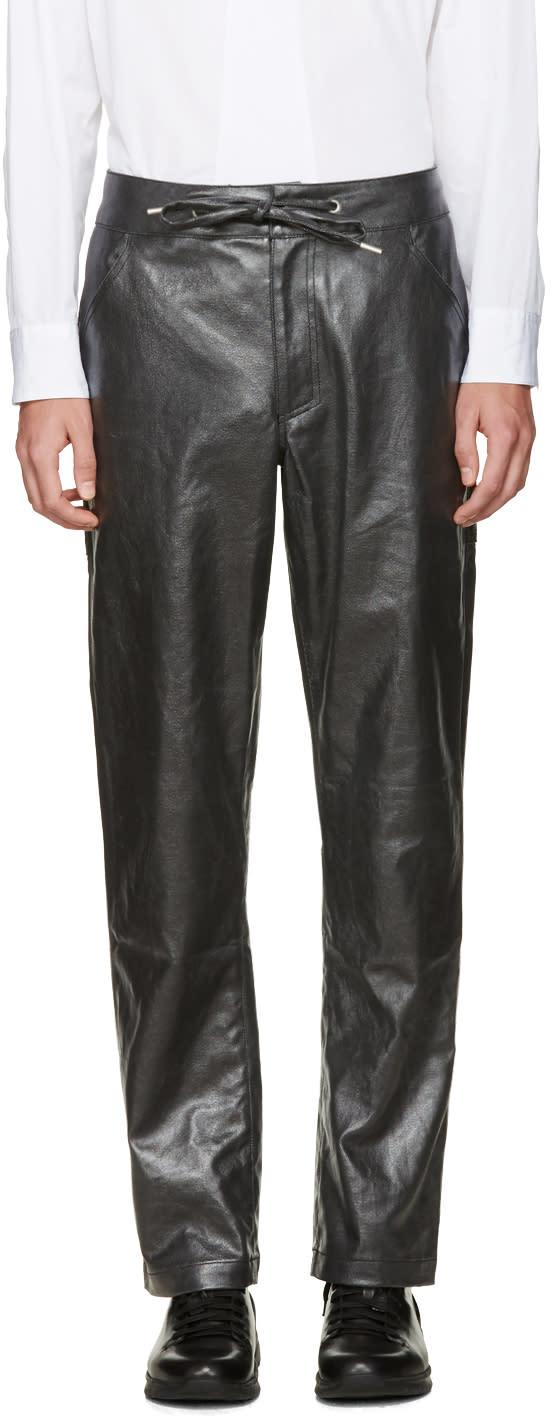 Telfar Black Coated Denim Trousers