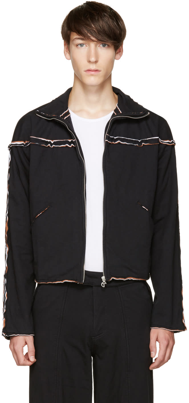 Telfar Black Layered Zip-up Sweater