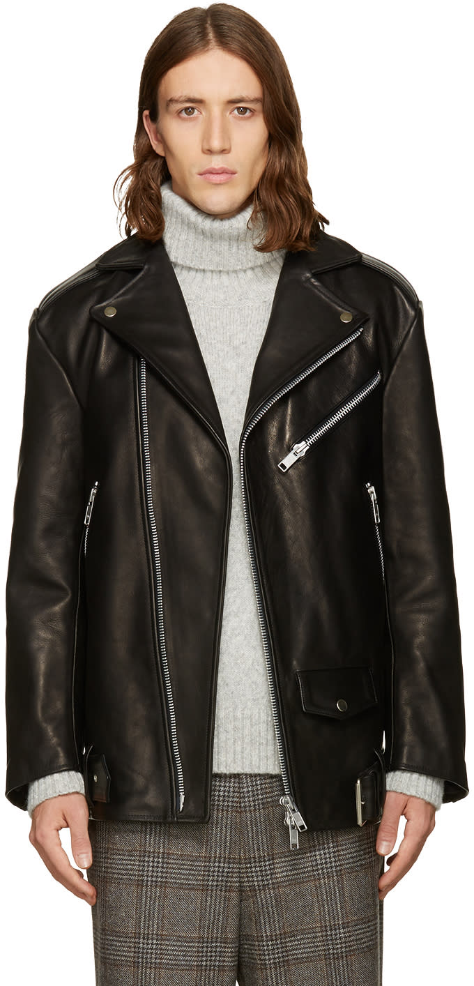 Cmmn Swdn Black Oversized Biker Jacket