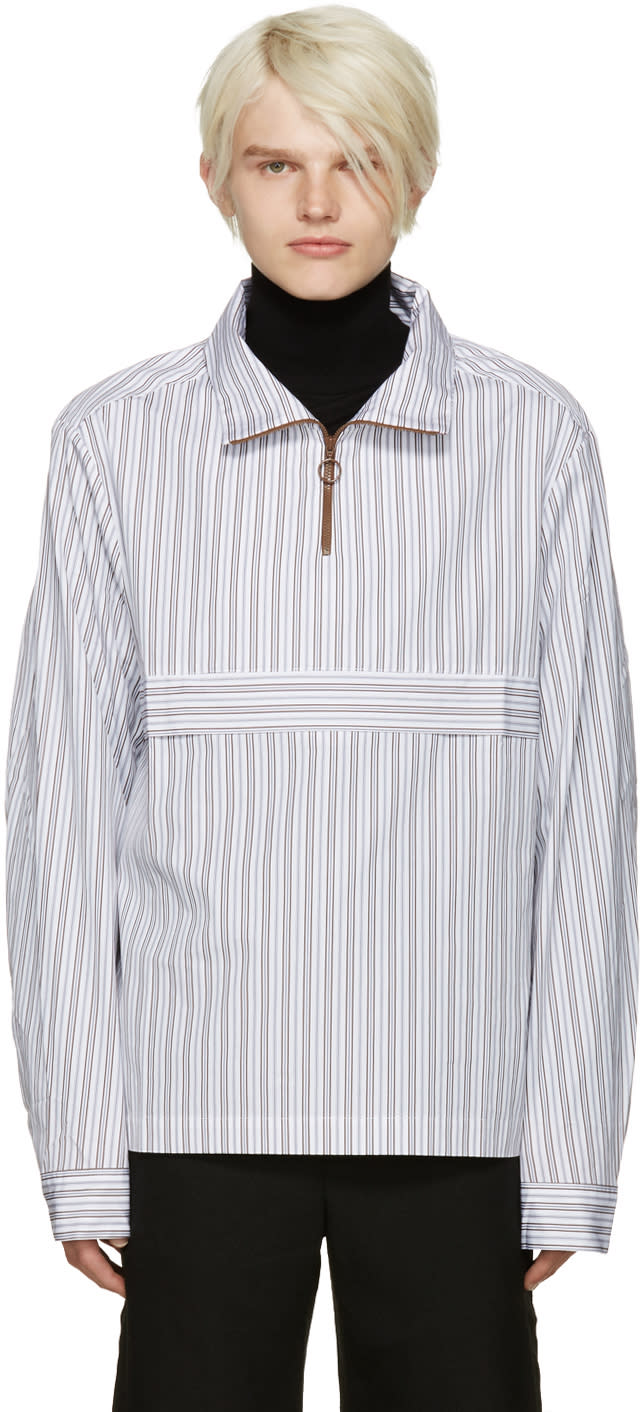 Cmmn Swdn White Striped Ron Jacket