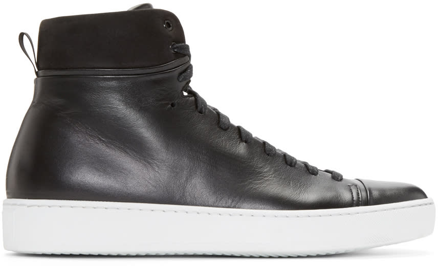 Image of John Elliott Black Leather High-top Sneakers