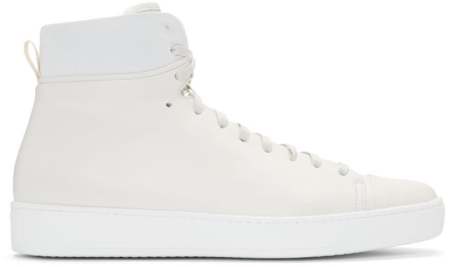 John Elliott Off-white Leather High-top Sneakers