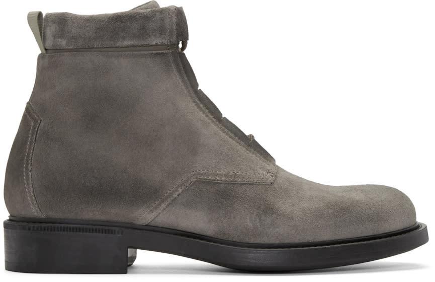 John Elliott Grey Suede Combat Boots