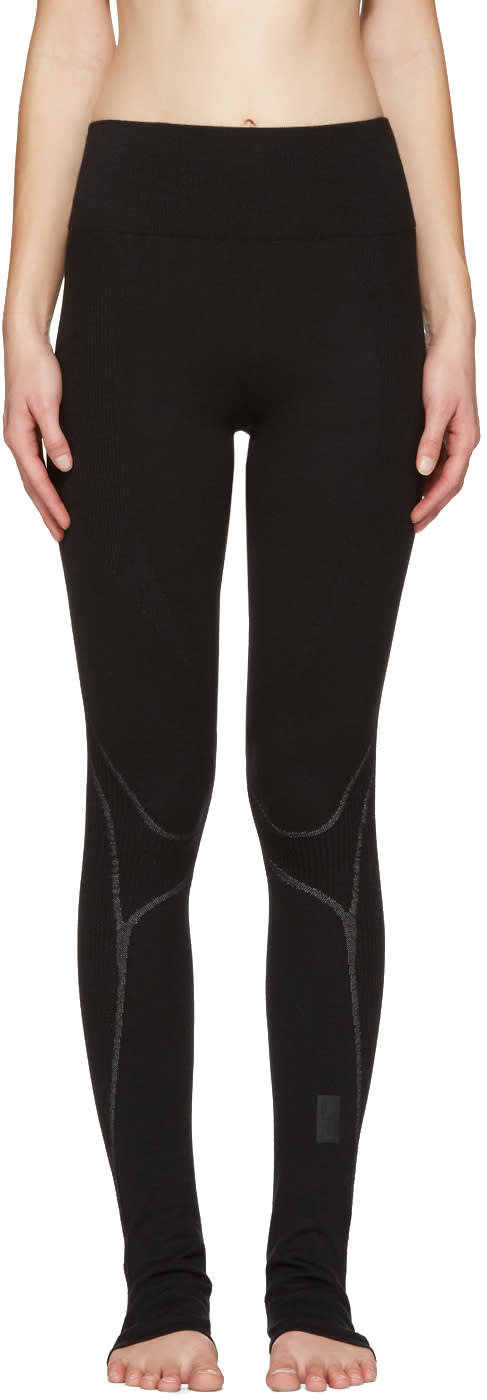 Image of Y-3 Sport Black Fine Knit Leggings