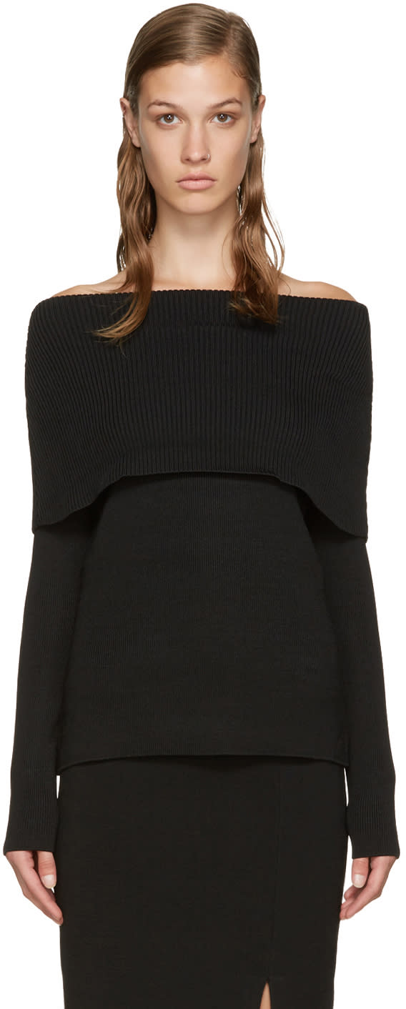 Toteme Black Jaca Off-the-shoulder Sweater