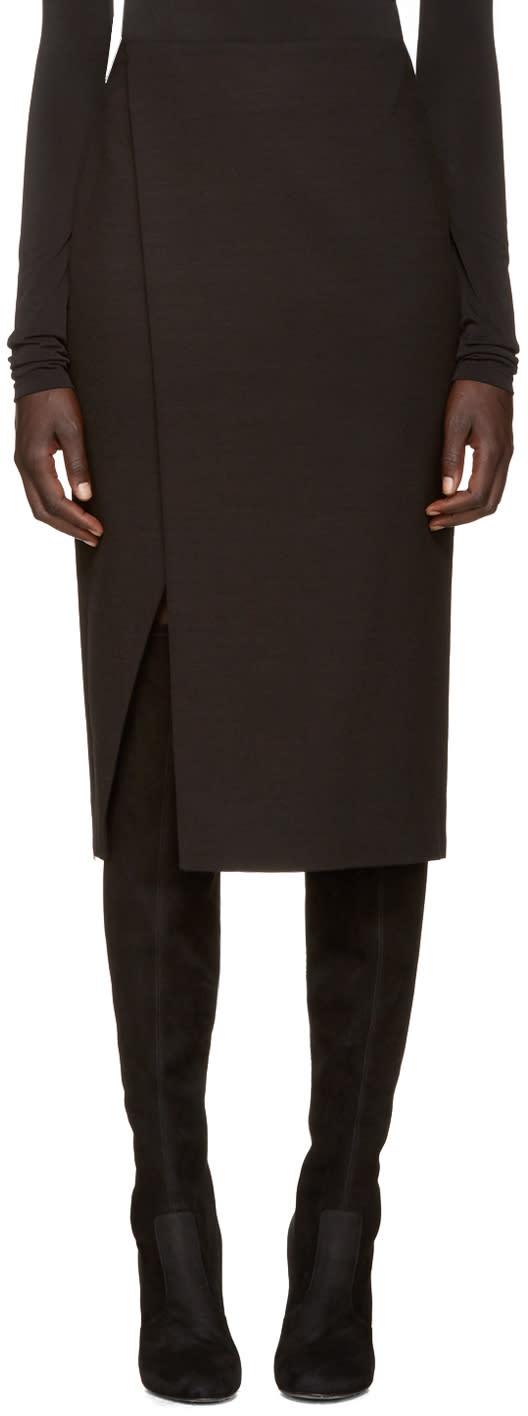 Protagonist Black Wool Wrap Skirt