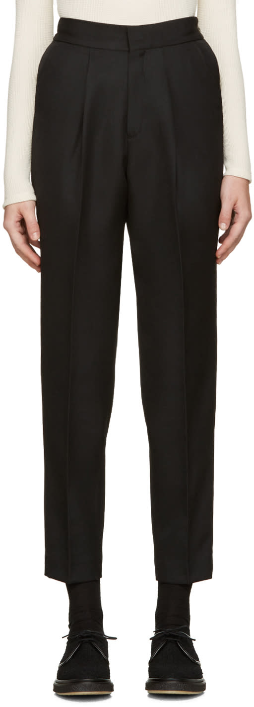 Hyke Black Wool Tapered Trousers