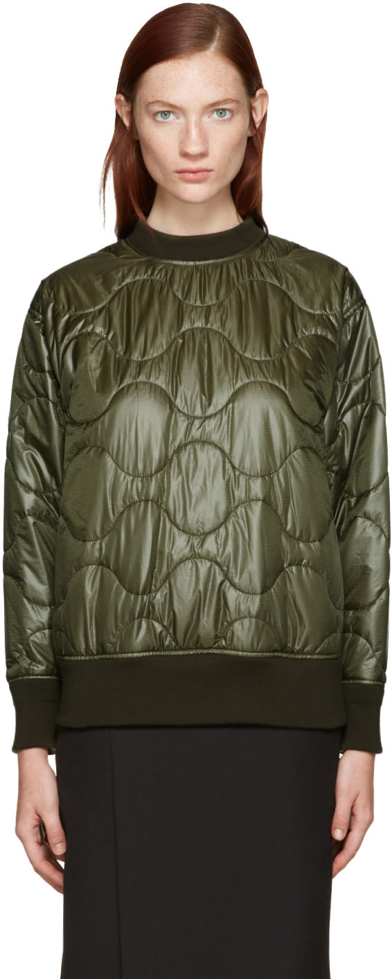 Image of Hyke Green Quilted Nylon Pullover
