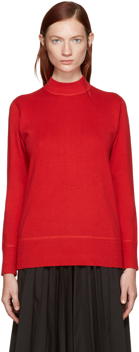 Hyke Red Mock Neck Sweater
