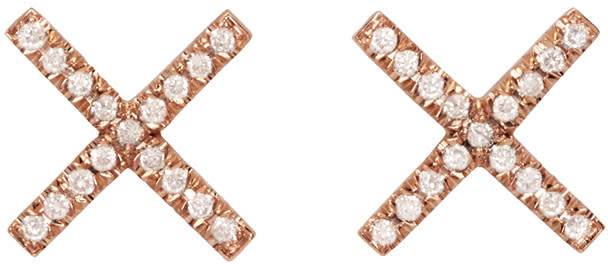 Image of Eva Fehren Rose Gold and Diamond X Studs