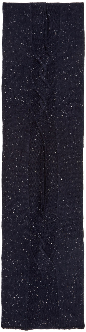 Ports 1961 Navy Cable Knit Scarf