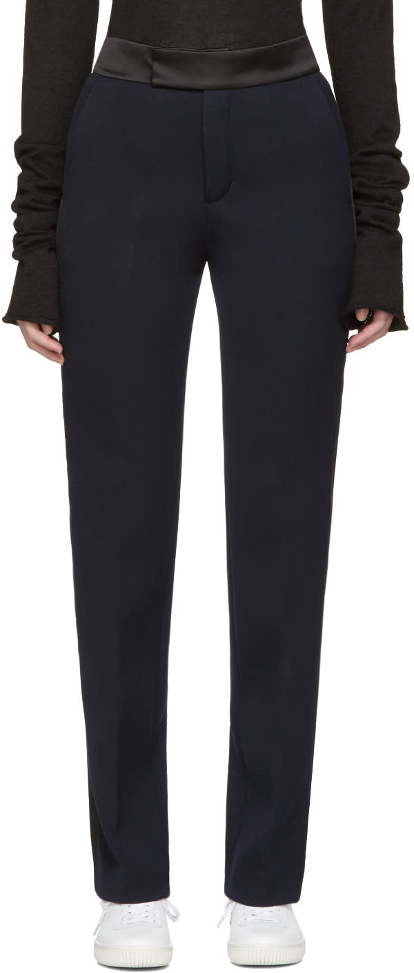 Ports 1961 Navy Satin-trimmed Trousers