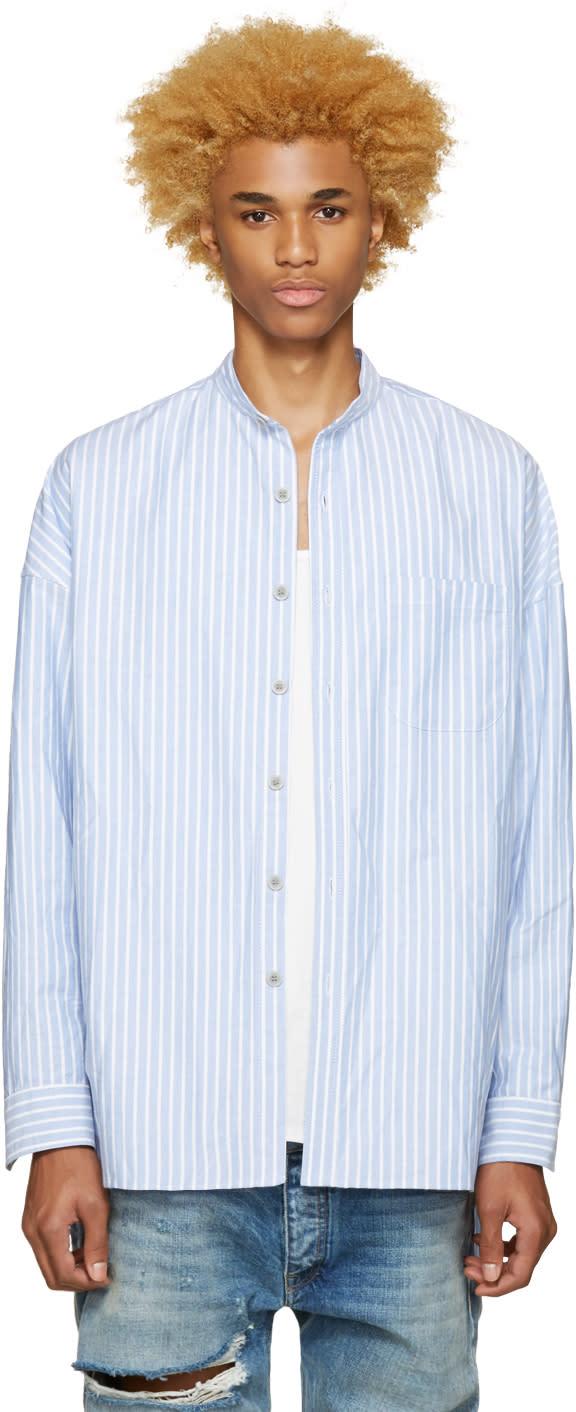 Fear Of God Ssense Exclusive Blue Mandarin Oxford Shirt