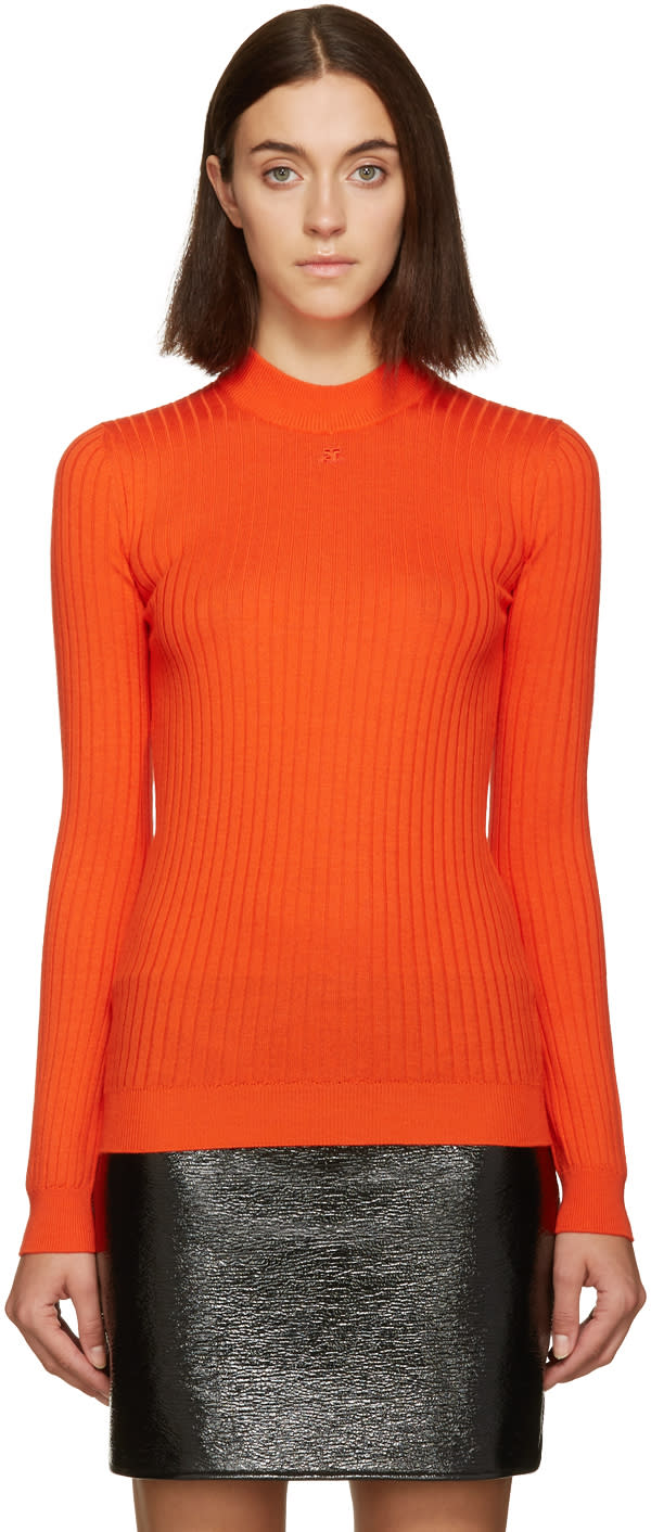 Courreges Red Classic Ribbed Pullover