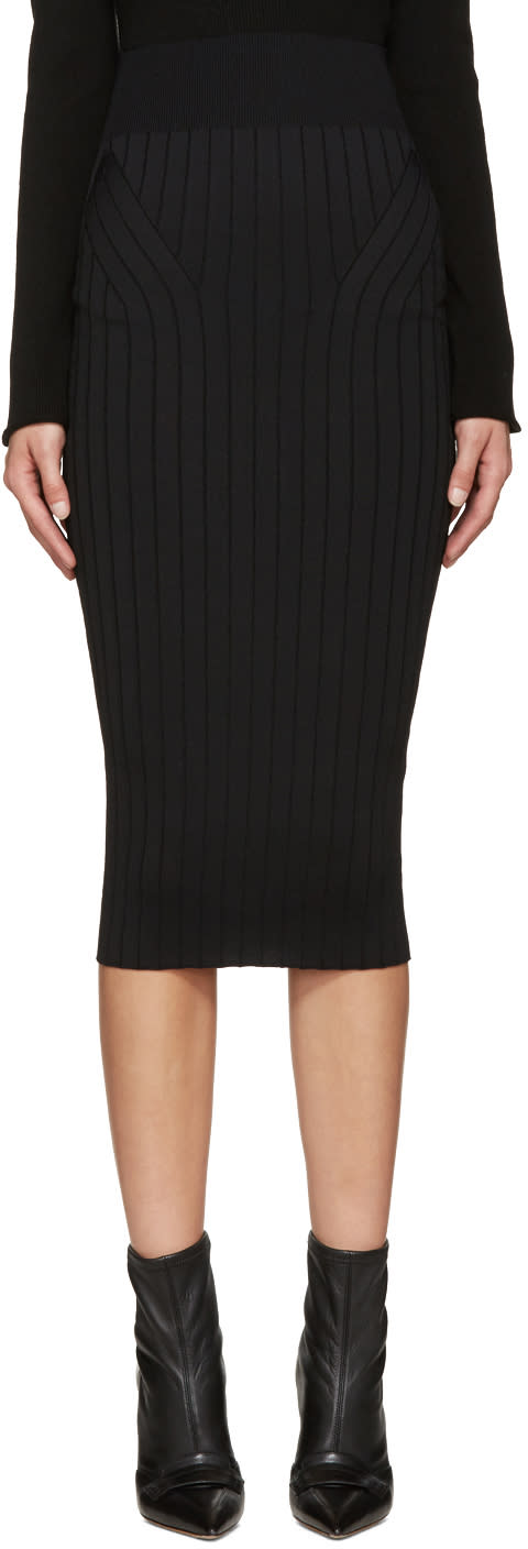 Victoria Beckham Black Ribbed Skirt