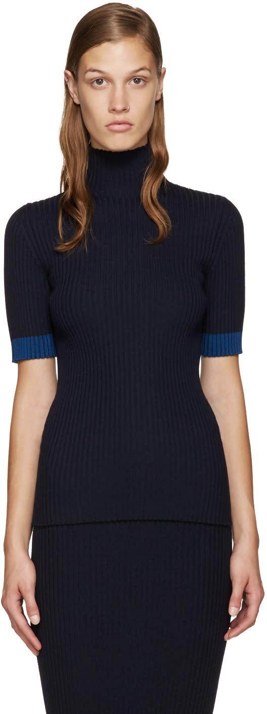 Victoria Beckham Navy Mock Neck Pullover