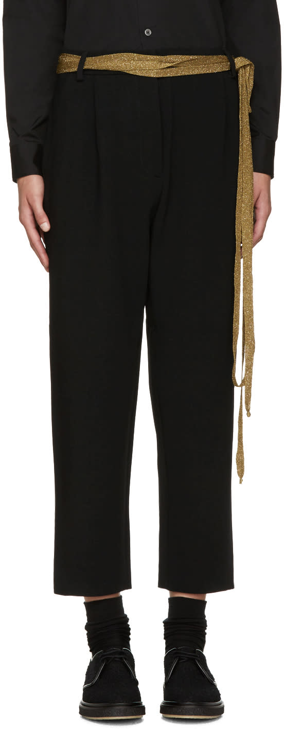 Sara Lanzi Black Stretch-crepe Trousers