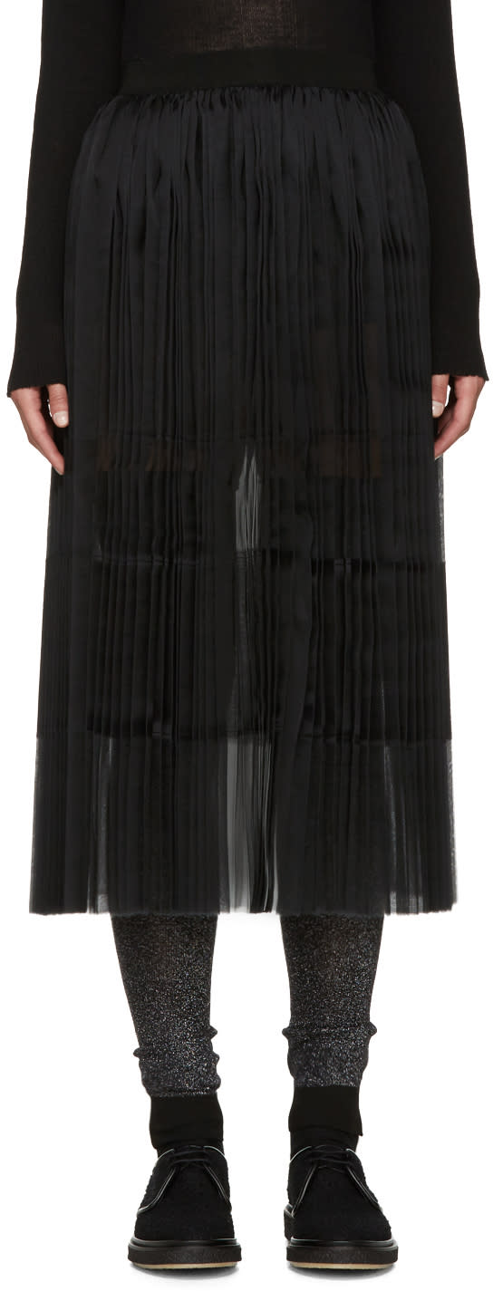 Sara Lanzi Black Pleated Silk Skirt
