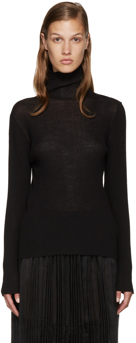 Sara Lanzi Black Wool Turtleneck
