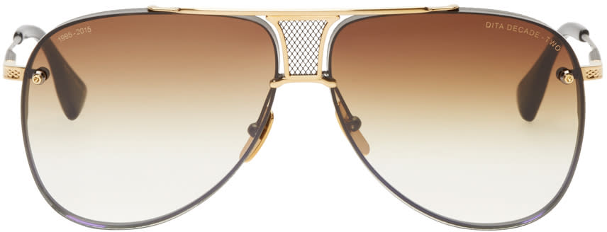Image of Dita Black and Gold Decade-two Aviator Sunglasses