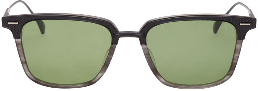 Image of Dita Black and Grey Oak Sunglasses
