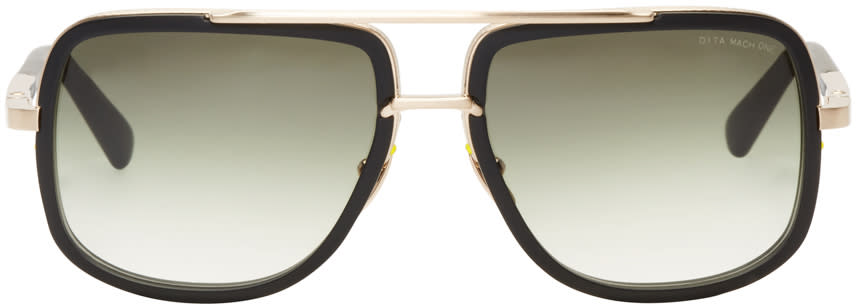 Dita Black and Gold Mach-one Aviator Sunglasses